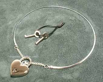Silver Discreet Neckwire BDSM Slave Collar LARGE- Heart Lock (COL 136)