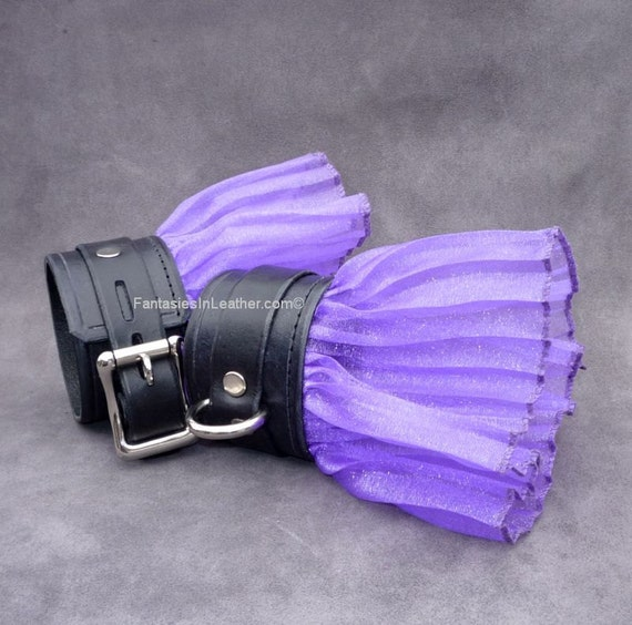 RESERVED Black Leather Wrist Cuff Restraints with Purple Ruffle Lace (RST104)