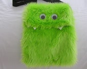 FURRY MONSTER PURSE, HANDBAG, BAG, LIME GREEN