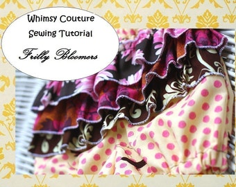 How to sew ruffled bloomers frilly diaper cover girls ruffles sewing pattern PDF