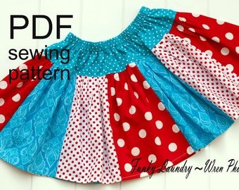 Skirt Pattern for girls Scrappy Twirl -- NB -12 girls PDF Instant
