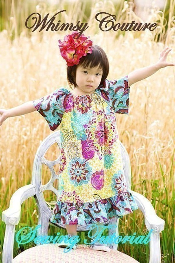 Whimsy Couture Sewing Pattern Tutorial ebook Easy Peasant Top/Dress many sizes PDF