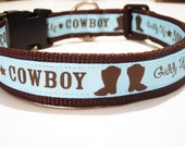 Gidde Up Rodeo Cowboy Boots Dog Collar blue and brown