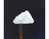 "Original painting on wood panel of a cloud fort - 6"" x 6"""