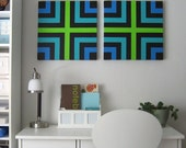 BLUE GREEN BLACK Squares Retro Mod Mid Century 70's Style