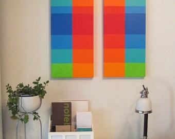 Modern Painting Set BLUE GREEN RED Orange Retro Mod Op Art