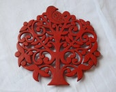 Vintage Cast Iron Red Bird in Tree Trivet Hot Plate Pot Stand 1940's
