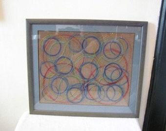 Original Mixed Media Textile Felt Circles Embroidery Art Painting