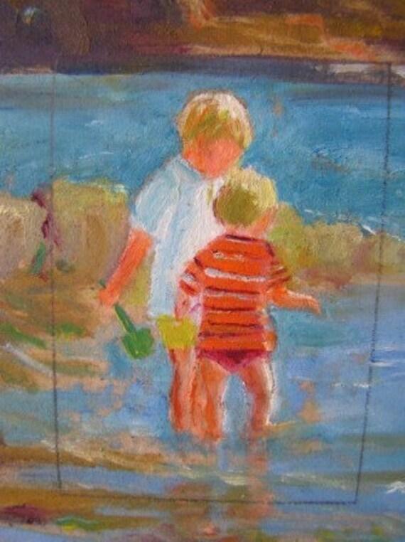 Original Miniature Acrylic Painting  - Boys Playing on the Beach
