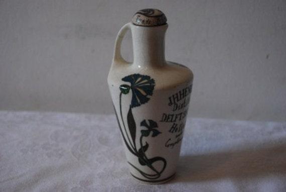 Antique Art Nouveau JH Henkes Distiller Bottle Delft Shaven Holland Spirits Hand Painted Pottery Early 1900's