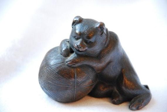 Antique Victorian Bronze Metal Miniature Bear and Ball Sculpture Figurine Late 1800's - Early 1900's Original