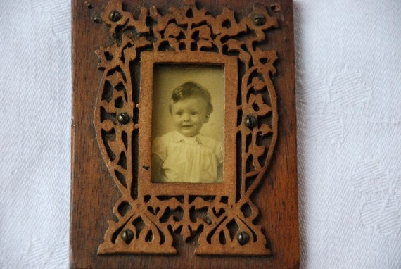 Antique Handmade Arts & Crafts Wooden Miniature Picture Frame including Photo of Little Girl