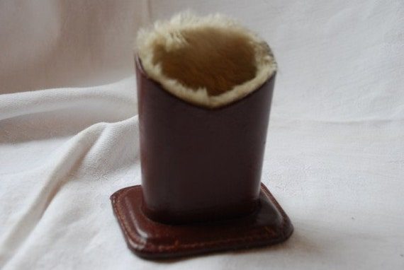 Vintage Leather and Faux Fur Free Standing Glasses Case Holder 1950's