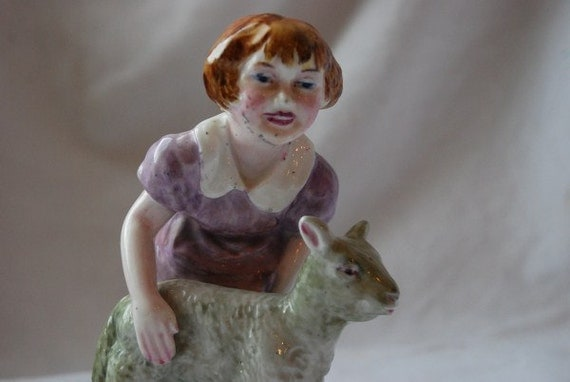 Vintage Hand Painted Girl and Lamb Porcelain Figurine 1940's - 1950's