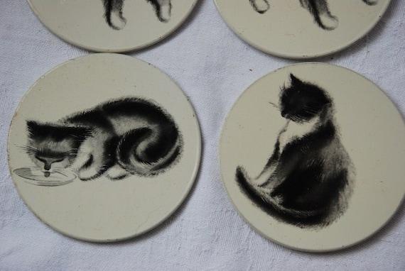 Vintage Set of 4 Tin Metal and Cork Cat Coasters