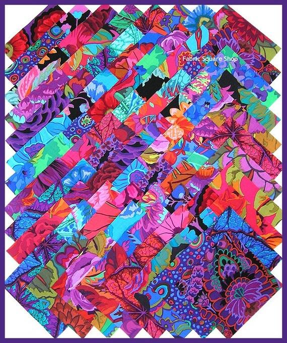 Kaffe Fassett Jewel Tones 4 Inch Quilting Fabric Squares