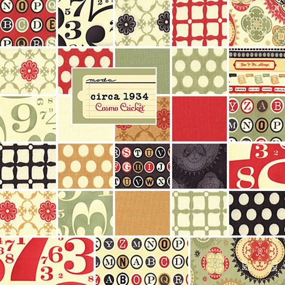 """Cosmo Cricket CIRCA 1934 5"""" Charm Pack Quilting Fabric Squares Kit 37000PP Moda"""