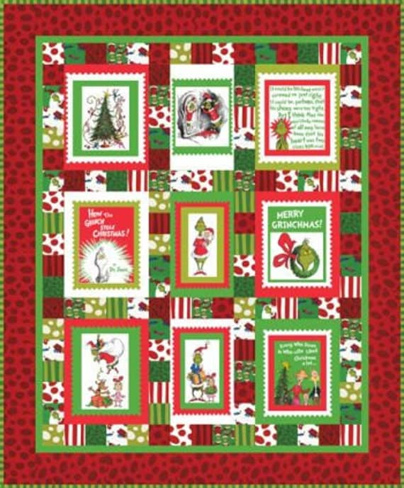 Dr Seuss Merry Grinchmas Fabric Panel Quilt Kit Robert