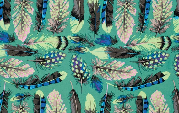 By the Yard Martha Negley FEATHERS Aqua PWMN056 Westminster Fibers Fabric