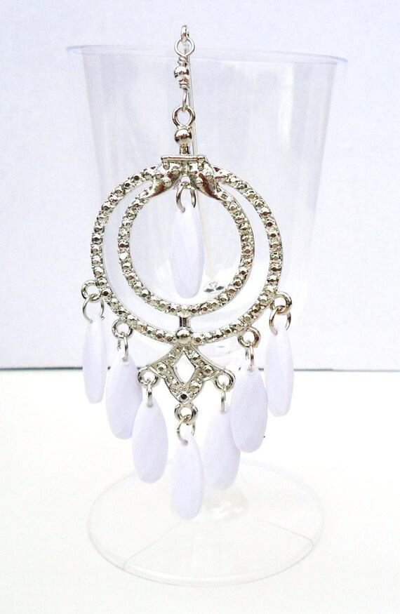 Wedding White Beaded metal dangle Hijab Pin Scarf pin Hat Pin Stick pin Sari pin  muslim EID