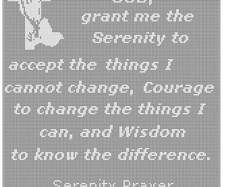 Serenity Prayer filet crochet wallhanging table mat pattern  197