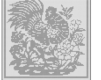 Crochet Rooster in the Filet Stitch Graph Chart Knitting