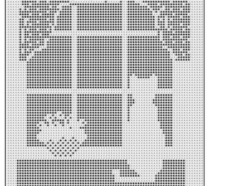Filet Crochet Cat In the Window Pattern afghan doily 459