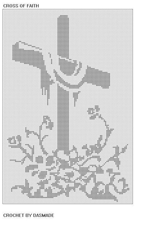 Items Similar To Cross Of Faith Easter Filet Crochet Doily