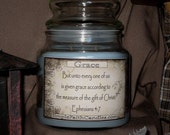 SALE - REDUCED - Scented 16 Oz. Inspirational Scripture Candle - GRACE -