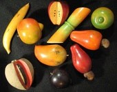 Vintage Colorful Turned Wood Tropical Fruit..Cashews, Mango, Sugar Cane, Etc