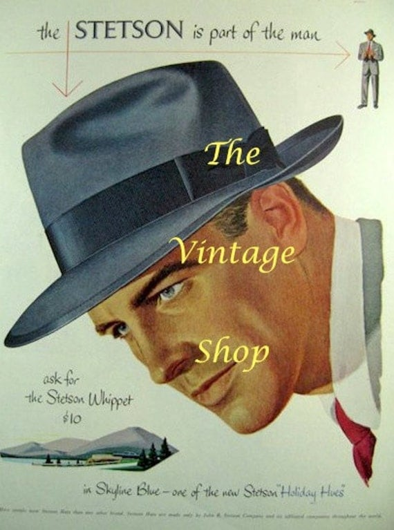 Stetson Whippet Hat .. 1950s Vintage Advertising