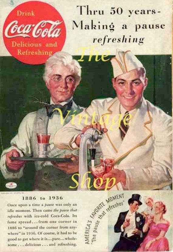 Coca Cola Soda Jerk 1930s Vintage Advertising