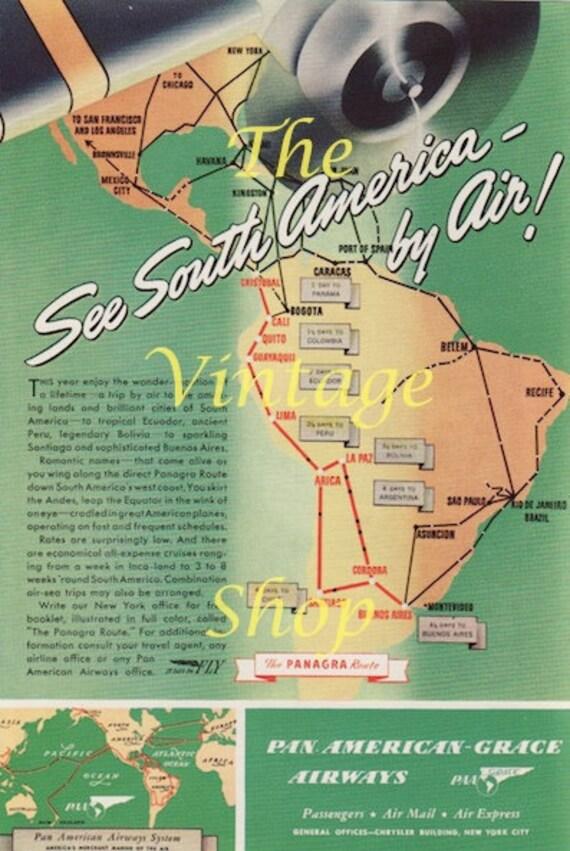 PanAm Airways South America..Original 1940s Vintage Ad