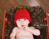 Red Apple Hat  Knitted Ready to Ship 3 to 6 month size Photography prop