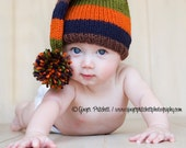 Stripey Knitted Stocking Cap,brown,navy,olive stripes, fall, winter, photography prop