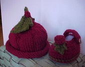 Hat and Bootie Set  Holly Berry Pixie Hand knitted Hat and Crocheted Booties  Newborn to 12 mo sizes Adorable photography prop