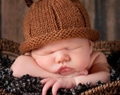 Acorn Pixie Hat Knitted NB to 24 months Cute Photography Prop