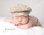 Lil Golfer Cap Tweed Crochet  Newborn to 3 months,3-6 months, 6-12 months,12 to 24 months