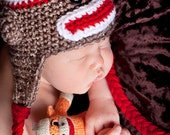 Sock Monkey Ear Flap Hats Five sizes available Newborn to 2 to 4 yr old