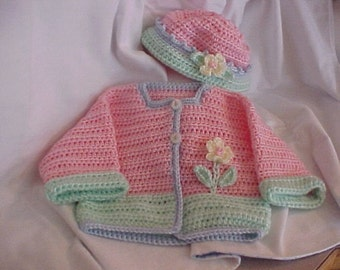 Sweater and Hat Set Pastel pink, mint with pale blue trim Newborn and 6 to 12 months sizes Crocheted adorable photography prop