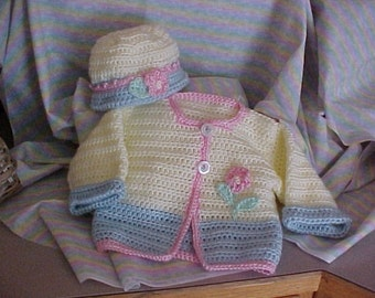 Sweater and Hat Set Crochet Pastel yellow / blue with pink trim Newborn, 6 to 12 mo