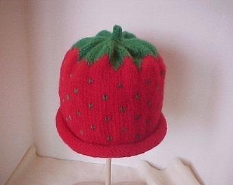 Strawberry Hats Knitted sizes for  Women and Teens