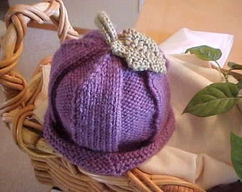 Purple Plum  Hat Hand Knitted Five Sizes available NB to 4 YR