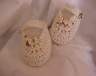 Booties Maryjanes with Satin Ivory Roses NB to 3 months, 3 to 6 months sizes