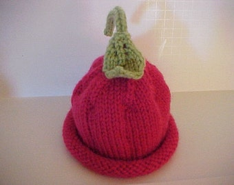 Cherry Pixie Hat Knitted 4 sizes Available NB to 24 months sizes Photo Prop