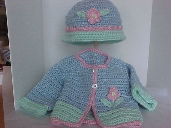 Crocheted Sweater and Hat Set  Light blue,mint green with pink trim Newborn, 6 to 12 months sizes