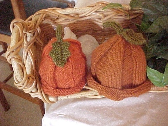 Pumpkin Hat Knitted  Five sizes available NB to 4 yrs  Fall Photography Prop