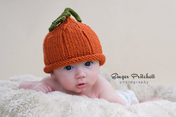 Pumpkin Hat Pixie NB-3 mo, 3-6 mo, 6-12 mo, 12-24 mo, 2 to 4 yr sizes Cute Halloween Photography Prop