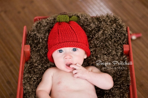 Red Apple Hat  Knitted Five Sizes  NB to 4 yrs sizes Photography prop