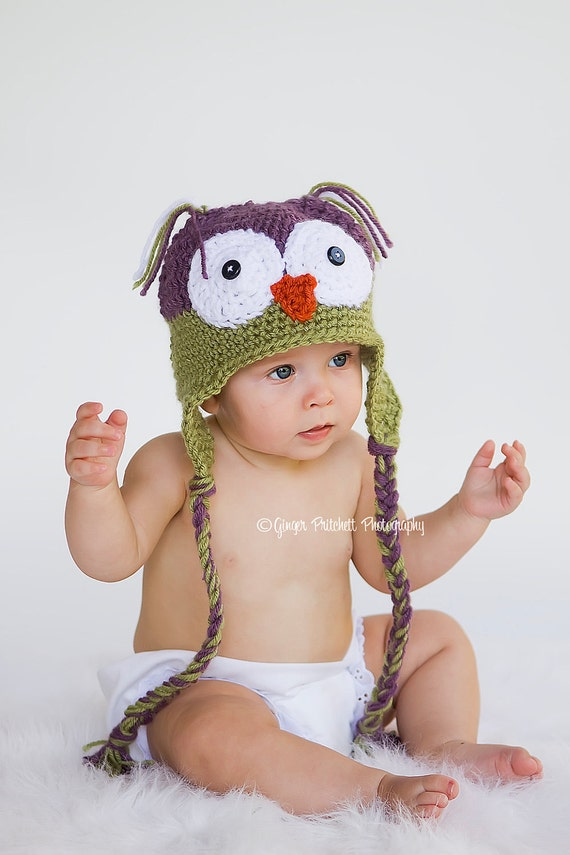Little Owl Hat, Newborn to 2 to 4 yr sizes available